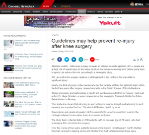 Guidelines may help prevent re-injury after knee surgery – A surgeon's point of view